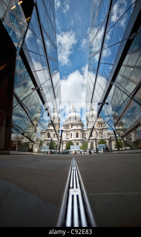 St. Paul's Cathedral reflected in glass - Stock Photo