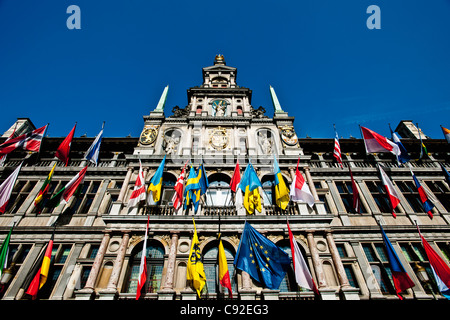Flags on ornate building - Stock Photo