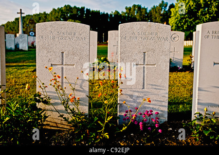 Close up of soldier's headstones - Stock Photo