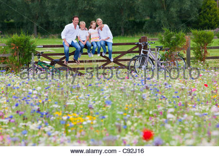 Family with bicycles sitting on fence in wildflower field - Stock Photo