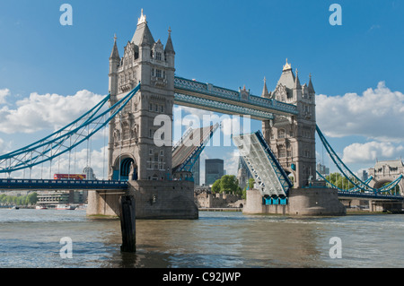 Tower Bridge spanning the River Thames in the heart of London - Stock Photo