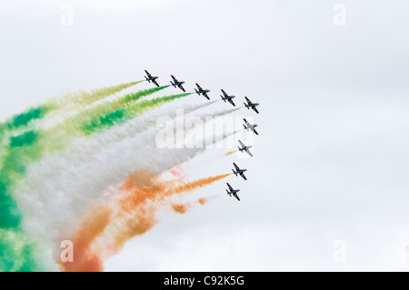 Flying Display by Il Frecce Tricolori. Aemacchi MB339A of Italian Air Force Aerobatic Team from Rivolto at Royal - Stock Photo
