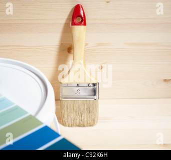 painting brush and gamut prints (created and made by me) selective focus - Stock Photo