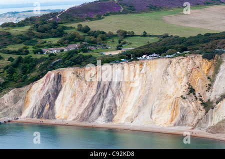 The cliffs at Alum Bay on the Isle of Wight are on the relay route for the 2012 Olympic torch. - Stock Photo