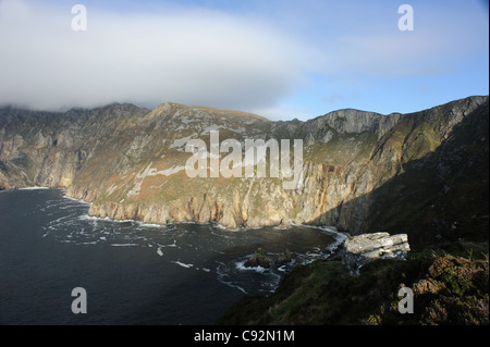 The Slieve League (Grey Mountain) cliffs, situated on the West coast of Co. Donegal Ireland, highest sea cliffs - Stock Photo