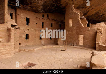 Anasazi, Indian cliff dwellings, Spruce Tree House at Mesa Verde National Park NP, Colorado, USA, US, United States - Stock Photo