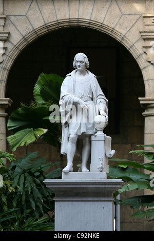 Monument to Christopher Columbus in the courtyard of the Museo de la Ciudad at Plaza de Armas in Havana, Cuba. - Stock Photo