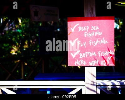 Red sign in bar in the west end of roatan island, honduras - Stock Photo