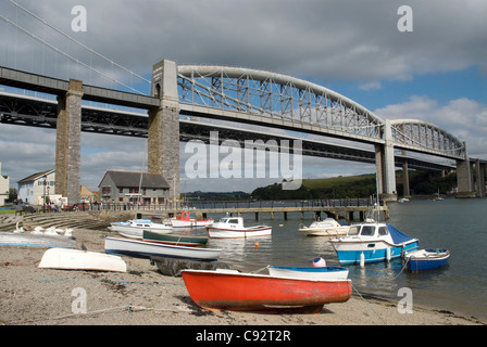 The Tamar crossing the Royal Albert bridge is a railway crossing designed and engineered by Isambard Kingdom Brunel - Stock Photo