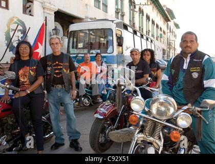 Members of the Harley Owners Group. Habana Vieja, La Habana, Havana, Cuba - Stock Photo