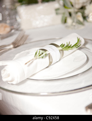 It is traditional after weddings for the guests to enjoy an often formal meal together. At Villa Catureglio in Borgo - Stock Photo