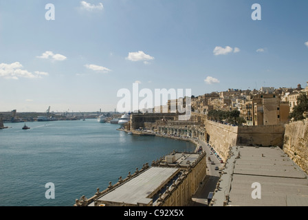 This historic fortified Grand harbour in Valletta Malta was a safehaven for allied forces ships in World War II. - Stock Photo
