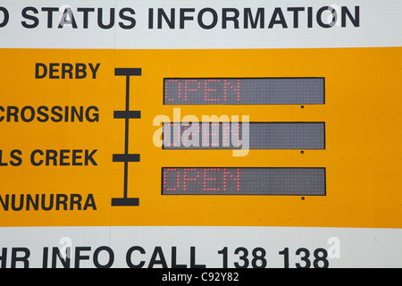 Information sign, Great Northern Highway, near Derby turnoff, Kimberley Region, Western Australia, Australia - Stock Photo