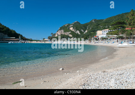 Paleokastritsa also spelt Palaiokastritsa is a resort town on the coast of Corfu island on the Ionian sea coast - Stock Photo