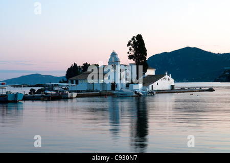 Vlacherna Monastery. The convent on Vlacherna in the bay below Kanoni, Corfu, Greece. - Stock Photo