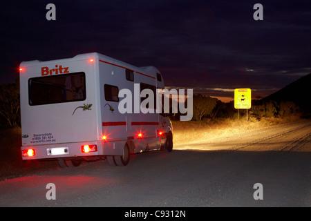 Campervan on Gibb River Road at night, near Wyndham, Kimberley Region, Western Australia, Australia - Stock Photo