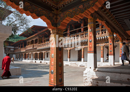 Magnificent old buildings enclose a courtyard in the Punakha Dzong, is the second oldest and largest dzong in Bhutan. - Stock Photo