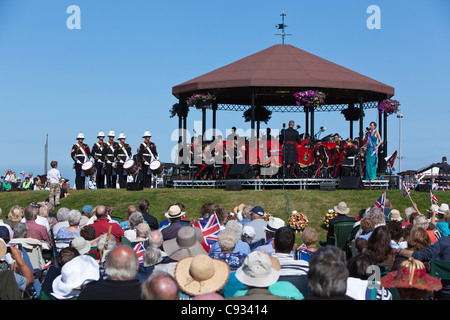 England, Kent, Deal. The annual Royal Marines' concert at the Memorial Bandstand on Walmer Green. - Stock Photo