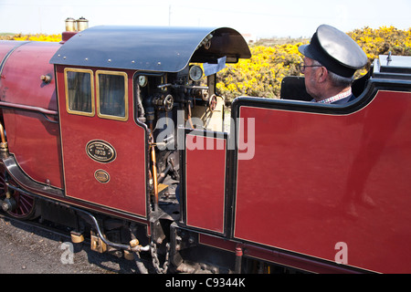 England, Kent, Dungeness. 'Hercules', a mountain-type steam locomotive on the Romney, Hythe & Dymchurch Railway - Stock Photo