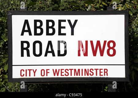 Abbey Road is home to the famous tone studio where the Beatles Songs where recorded and the name of one of their - Stock Photo