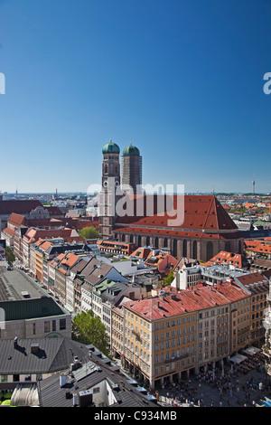 The twin towers of the Munich Frauenkirche and the Marianplatz, Munich Bayern, Germany. - Stock Photo
