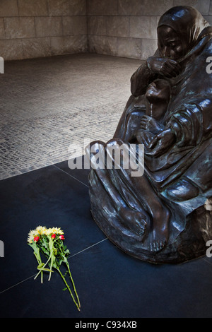 The sculpture Mother with her Dead Son, in the centre of the Central Memorial, Unter den Linden, Berlin, Germany. - Stock Photo