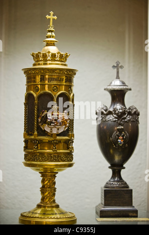 Germany, Bavaria, Munich.  Urns in the The crypt of Michaelskirche - Stock Photo