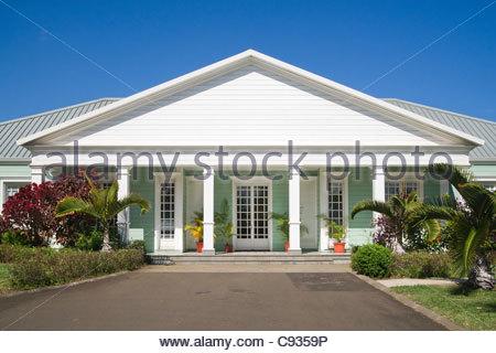 Creole house near La Saga du Rhum museum - Reunion island - Stock Photo