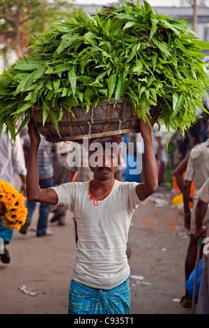 A man carries a headload of greenery through the busy Mullik Ghat flower market near Howrah bridge. - Stock Photo