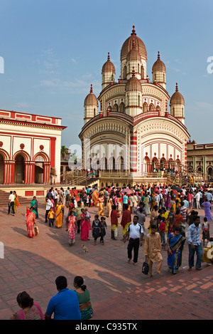 The Dakshineswar Kali Temple on the outskirts north of Kolkata was founded in 1855 by Rani Rashmani. - Stock Photo