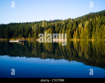 lost lake near whistler blackcomb in summer with mountains in the background - Stock Photo
