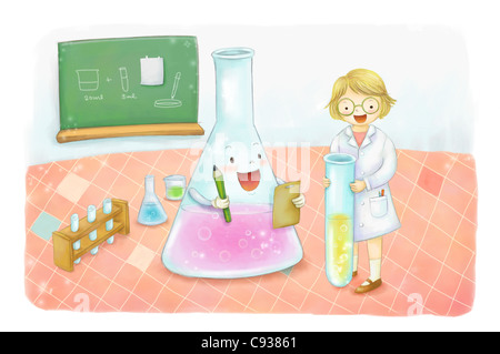 Young girl in school laboratory - Stock Photo