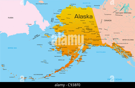 Alaska political map with capital Juneau US state in the
