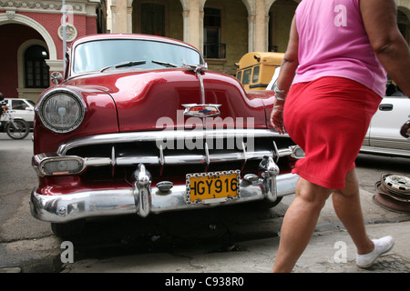Vintage car Chevrolet parked in the historical centre of Havana, Cuba. - Stock Photo