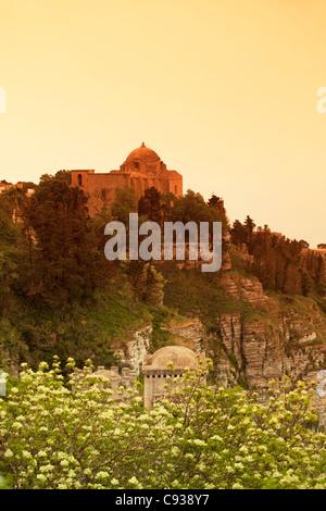 Sicily, Italy, Western Europe; Church 'San Giovanni Battista' (St.John the Baptist) on top of a hill - Stock Photo