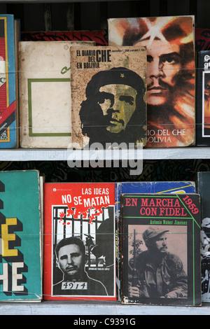 Books about Ernesto Che Guevara and Fidel Castro at the book market at Plaza de Armas in Havana, Cuba. - Stock Photo