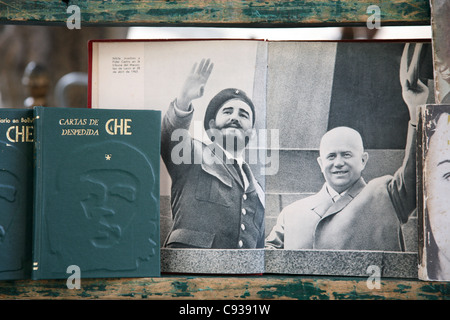 Fidel Castro and Soviet leader Nikita Khrushchev seen in a book at the book market at Plaza de Armas in Havana, - Stock Photo
