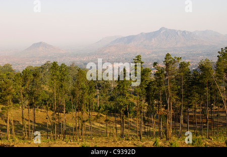 Malawi, Zomba.  View over the town of Zomba from the lower slopes of Zomba Plateau. - Stock Photo