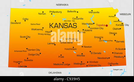 Vector Color Map Of Kansas State Usa Stock Photo