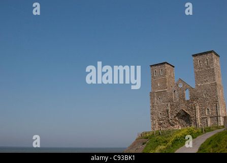 The ruins of a 14th Century church on a cliff top in Reculver Country Park at Reculver near Herne Bay in Kent. UK - Stock Photo