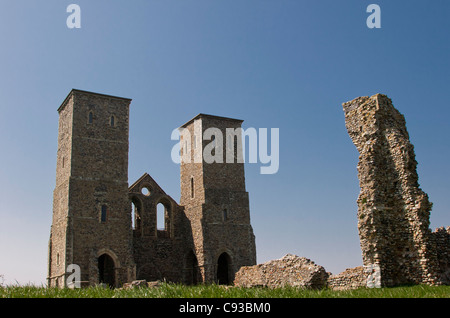 The ruins of a 14th Century church on a cliff top in Reculver Country Park at Reculver near Herne Bay in Kent. United - Stock Photo