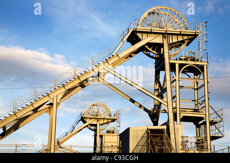 Old Pit Head Winding Gear at Woodhorn Mining Museum Northumberland England - Stock Photo