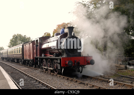 Steam locomotive at Avon valley Railway (Bitten) heritage railway during its Autumn Steam gala 2011 - Stock Photo