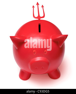 Red devil piggy bank with horned ears and a trident tail on a white background. Cutout Cut Out - Stock Photo