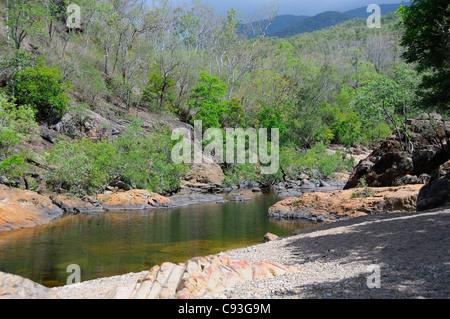 Rock pool along Alligator Creek, Bowling Green Bay National Park, Townsville, Queensland, Australia - Stock Photo