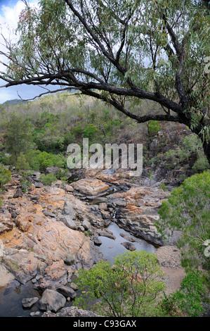 Water running along Alligator Creek, Bowling Green Bay National Park, Townsville, Queensland, Australia - Stock Photo