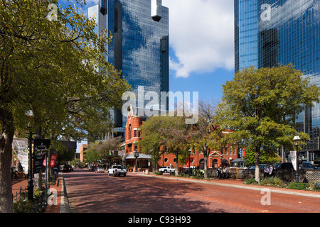 Main Street neart the intersection with W Third Street in the Sundance Square district of downtown Fort Worth, Texas, - Stock Photo