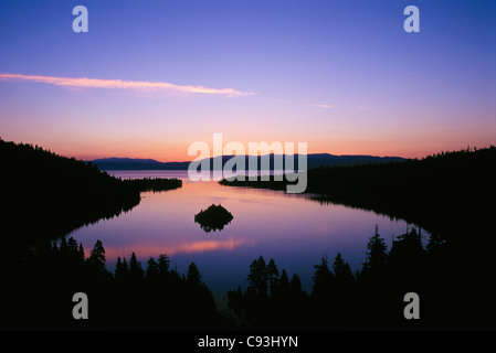 Emerald Bay at dawn; Lake Tahoe, California. - Stock Photo