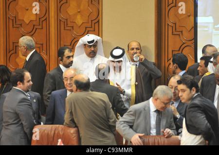 Qatari Prime Minister Foreign Minister Hamad Bin Jassim Bin Jabr Al-Thani at the Arab League in Cairo hosting Turkish - Stock Photo