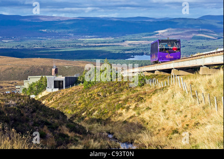 Cairngorm Mountain lower railway installation on Cairn Gorm in Cairngorm National Park Scotland with funicular car - Stock Photo